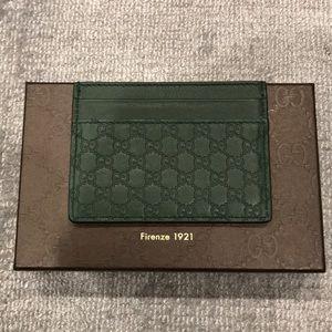Gucci green guccisima  card holder